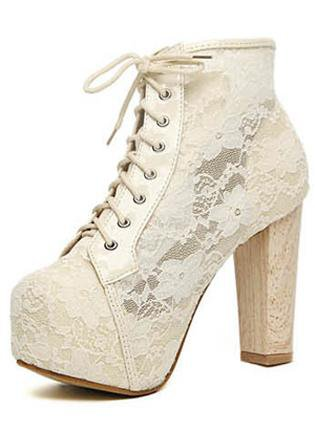 white lace chunky heel ankle boots shoes from ustrendy shoes