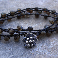 Labradorite Bracelet Triple Wrap by UrbanCorner on Etsy