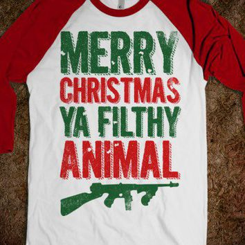 Merry Christmas Ya Filthy Animal (Baseball)-White/Red T-Shirt