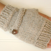 Wool Fingerless Gloves with Button Accent Wicker by WindyCityKnits