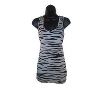 Gray Slate and Black Zebra Striped Print Chic Tank Top Juniors Clothing Size Medium