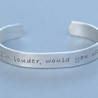 One Direction - Hand Stamped Bracelet - If I'm louder would you see me