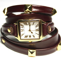 Luxe Real leather stude watch jewelry fashion wristwatch bracelet ring/new C45