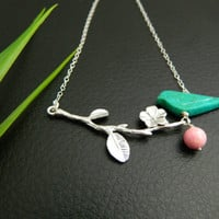 Cherry blossom Necklace, Bird Necklace, STERLING SILVER, Mother's Necklace, Mothers Day, Mother's Jewelry