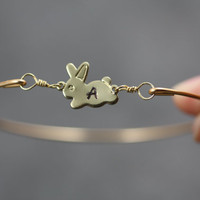 Personalized Gold Bunny Bangle