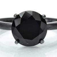 8mm Black Spinel Gemstone in a 4 prong Tiffany Set Oxidized Silver Ring