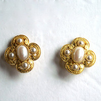 Rope Twist Earrings with Faux Pearls Clip Ons