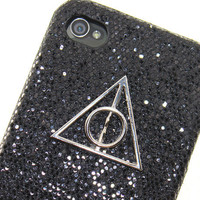 Deathly Hallows leather Shining Black iPhone 4 Case