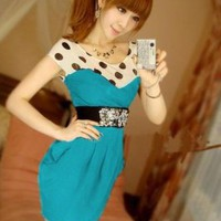 Wholesale Fashion Design Dots Printing Slim-fitting Dress Blue