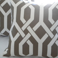 Brown white  trellis 18 x 18 transitional pillow cover