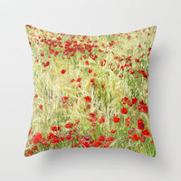 Windy poppies Throw Pillow by Guido Montañés | Society6