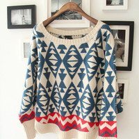 Loose long sleeve round neck bat sleeve curved diamond triangle pattern version sweater by ClothLess