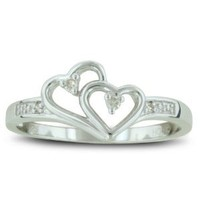 Amazon.com: Double Heart Diamond Promise Ring ( Availabe Sizes 4-9): Jewelry