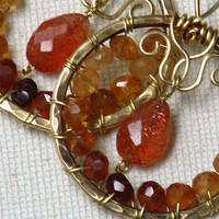 Hessonite Garnet and Sunstone Wire Wrapped Earrings Bronze Hoop
