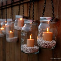Mason Jar Lanterns Hanging Tea Light Luminaries - Set of 8