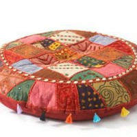 One Kings Lane - Seven Veils - Patchwork Floor Cushion, Red/Multi