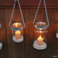 Mason Jar Lanterns Hanging Tea Light Luminaries - Set of 4
