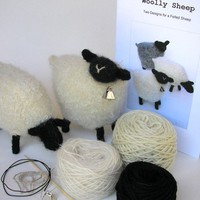 Wool Sheep Knitting Pattern and Kit by woollysomething on Etsy