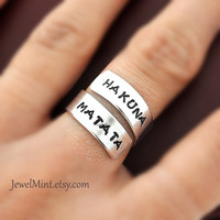 Hakuna Matata ring, Custom Ring, Personalized Ring, happy ring, Best friends gifts, Twist ring, wrapped ring, Adjustable ring