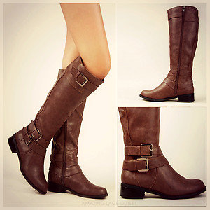 brown trendy knee high boots from ebay