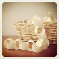 Paper Garland - Paper Chain - White Paper Chain - Holiday Decor - Winter home decor - Christmas garland - Winter White