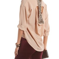 Draped Sequin Back Crepe Blouse: Charlotte Russe