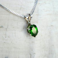 Chrome Diopside Gemstone Jewelry Necklace from Russia Emerald Green