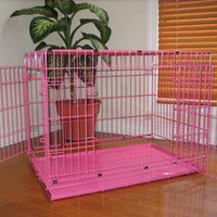 "X-Large 48"" Pink Folding Pet Dog Cat Cage Crate Kennel ABS LC"