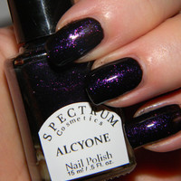 Black Nail Polish with Purple Sparkle ALCYONE