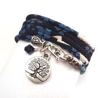 Wrap Bracelet made with Japanese Chirimen by charmeddesign1012