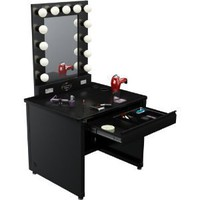 "Amazon.com: Broadway Lighted Vanity Desk 36'' x 30"" - Black Frame, Black Surface: Home & Garden"