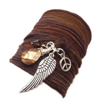 Silk Ribbon Bracelet with Angel Wing yoga by charmeddesign1012