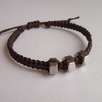 Men's Macrame and Hex Nut Bracelet, Brown, adjustable size, unisex style
