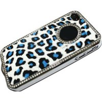 Amazon.com: LE Luxury Unique Best Leopard Leather Print Czech Rhinestone Case Cover For Apple iPhone 4 4G 4S Crystal - Blue: Cell Phones & Accessories