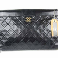 Vintage Chanel quilted large lambskin clutch by vintageheirloom