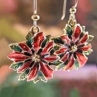 POINSETTIA Earrings Red Green Enamel 14K Gold Fill Christmas Earrings Christmas Gift Idea Holiday Jewelry