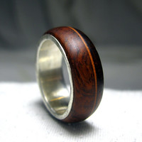 Wooden Ring with Sterling Silver Lining - Cocobolo with Offset Brown Stripe