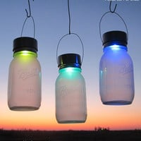 1 Rotating Color Glo Solar Jar Lantern- Hanging Color Changing Mason Jar Solar Rainbow Garden Outdoor Lights