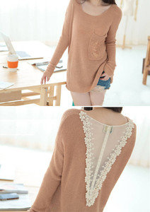 Korean Fashion Back Deep V Shape Lace Knitted Loose Fit Sweater Knit Top 3 color