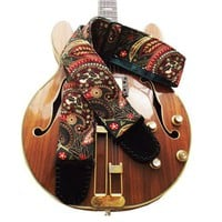 Christmas Paisley Guitar Strap in Red Green and Gold Victorian Style