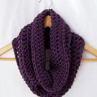 Crochet infinity scarf cowl neckwarmer, super soft acrylic vegan deep rich plum purple
