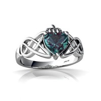 Amazon.com: 14K White Gold Heart Created Alexandrite Celtic Claddagh Knot Ring: Jewelry