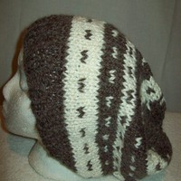 Chunky Slouch Hat Brown Natural Big Hair Hat, Baggy Slouch knit Soft