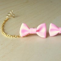 Pale rose pink mini grosgrain bows ear stud with gold ear cuff chain earring 1inch