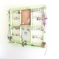 Upcycled Window Frame, Green Window Jewelry Holder, Jewelry Storage, Wall Hanging Jewelry Organizer, Jewelry Display, Upcycled Decor