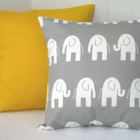 "Pillows Decorative Throw Pillows Children Pillow Bedding Kids Room Baby Nursery 18"" x 18"" Solid Yellow Gray Elephant"