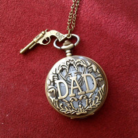 GIFT FOR DAD Pirates of Caribbean inspired Pocket Watch necklace  with gun charm