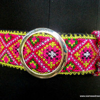 Colorful Vintage Hmong Embroidery Belt