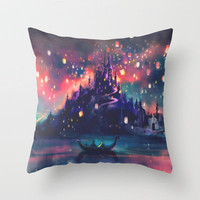 The Lights Throw Pillow by Alice X. Zhang | Society6