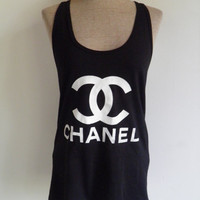 Chanel CC logo American Apparel fine jersey Racer back Tank top Black